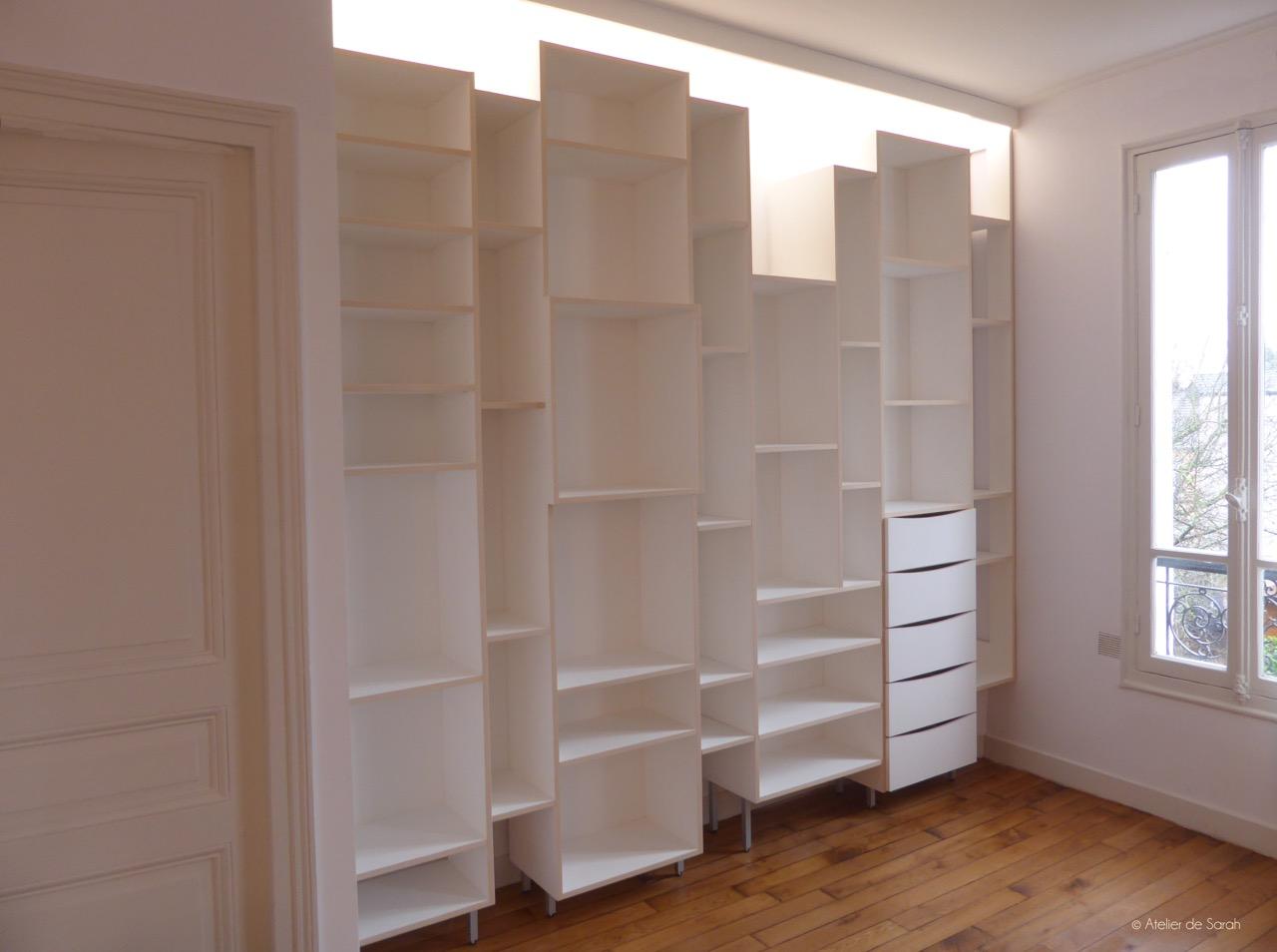 biblioth que espace de rangement i silhouette skyline atelier de sarah. Black Bedroom Furniture Sets. Home Design Ideas
