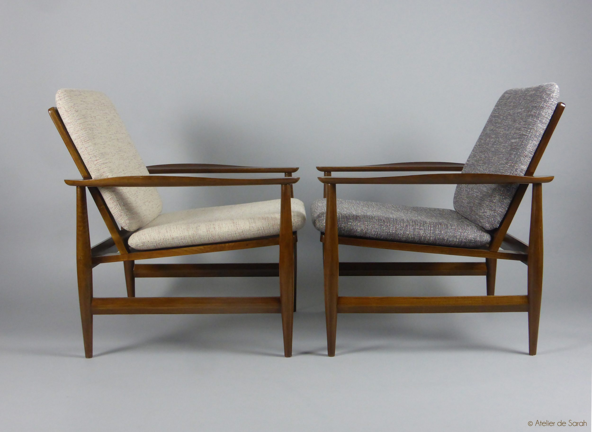 Angel-Wing-Danish-style-armchairs-with-Raf-Simons-cushions