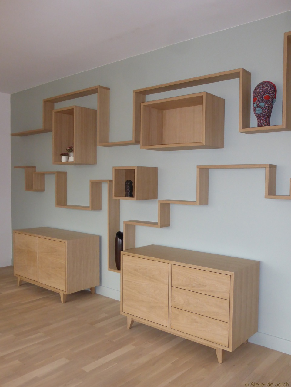 Wall-decoration-with-twin-credenzas-in-oak